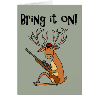 Funny Deer with Hunting Rifle and Cap Card