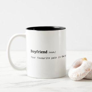 Funny definition of boyfriend Two-Tone coffee mug