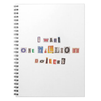 Funny Demand For Money Ransom Note Collage Spiral Notebooks