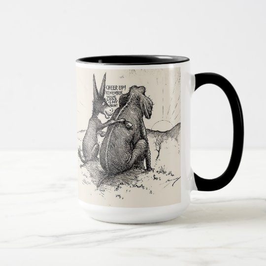 Funny Democratic Mug w/ Donkey & Elephant HUMOR
