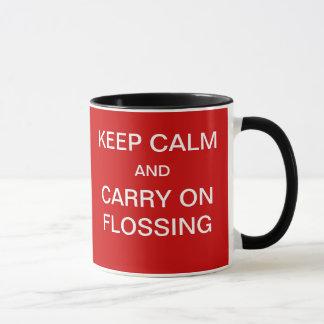 Funny Dentist Mug - Keep Calm Flossing Slogan