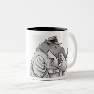 funny detective elephant hot beverage mug