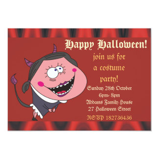 Funny Devil Girl and Flames Halloween Party Invite