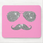 Funny Diamond Moustache With Glasses Mouse Pad