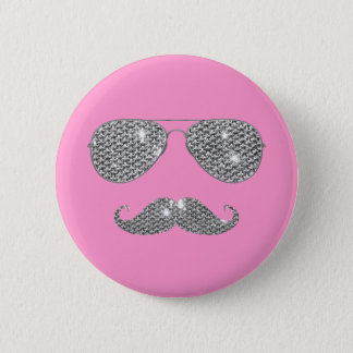Funny Diamond Mustache With Glasses 6 Cm Round Badge