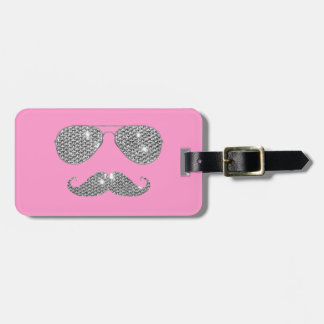 Funny Diamond Mustache With Glasses Bag Tag