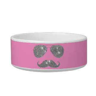 Funny Diamond Mustache With Glasses Bowl