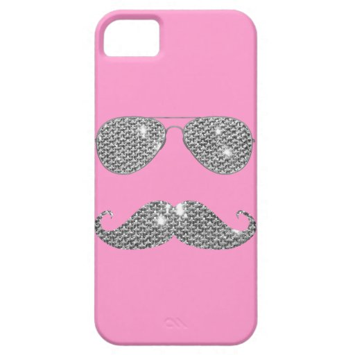 Funny Diamond Mustache With Glasses iPhone 5 Case