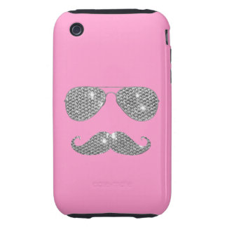 Funny Diamond Mustache With Glasses iPhone 3 Tough Cover