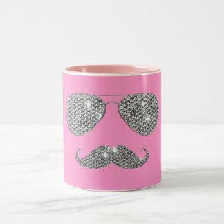 Funny Diamond Mustache With Glasses Two-Tone Coffee Mug