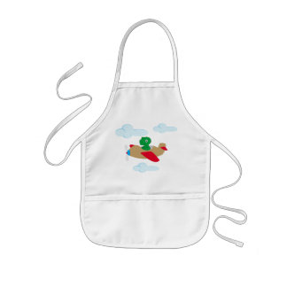 Funny dino flying by plane kids apron