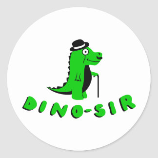 Funny DINO-SIR design Classic Round Sticker