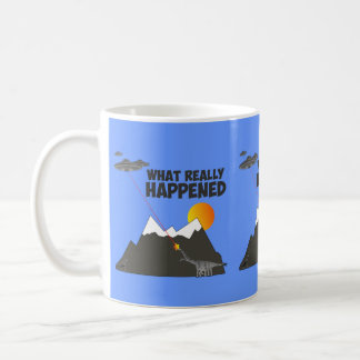 Funny dinosaur alien extinction coffee mug
