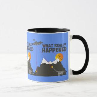 Funny dinosaur alien extinction mug