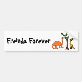 Funny Dinosaur and Giraffe Cartoon Bumper Sticker