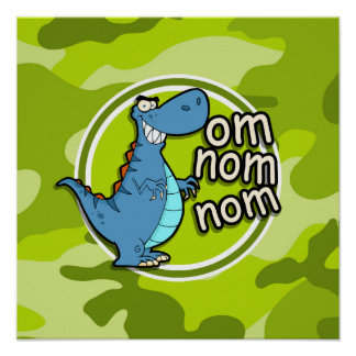 Funny Dinosaur bright green camo camouflage Print