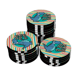 Funny Dinosaur; Bright Rainbow Stripes Poker Chips Set