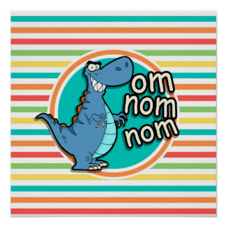 Funny Dinosaur; Bright Rainbow Stripes Posters