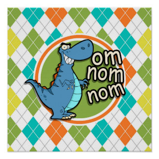 Funny Dinosaur on Colorful Argyle Pattern Print