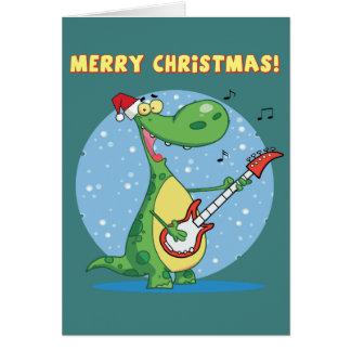 Funny Dinosaur Plays Guitar On Christmas Greeting Card