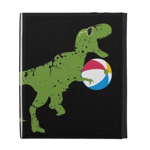 Funny dinosaur t-rex summer fun beach ball iPad folio cover