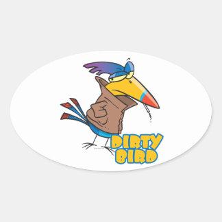 funny dirty bird naughty toucan cartoon oval sticker