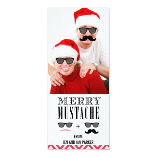 Funny DIY Mustache Sunglasses Holiday Photo Card 10 Cm X 24 Cm Invitation Card