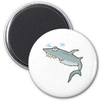 funny dizzy shark 6 cm round magnet