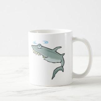 funny dizzy shark basic white mug