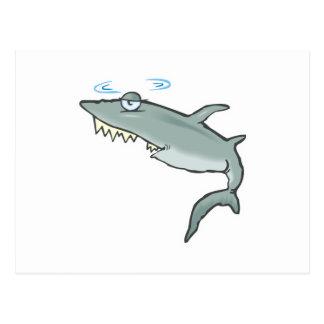 funny dizzy shark postcard