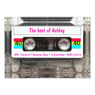 Funny DJ 80s Cassette Tape 40th Birthday 13 Cm X 18 Cm Invitation Card