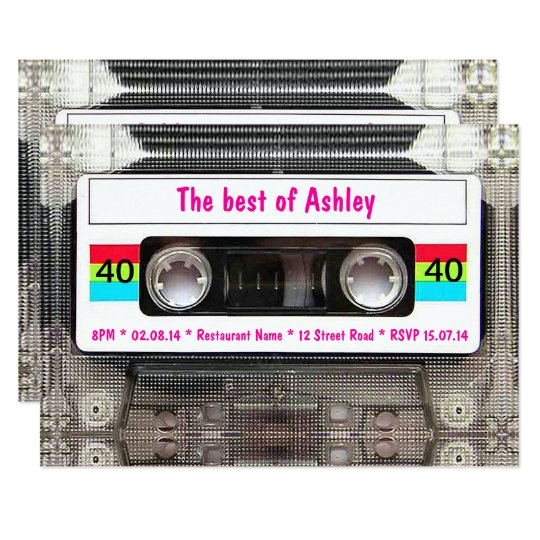 Funny DJ 80s Cassette Tape 40th Birthday Card