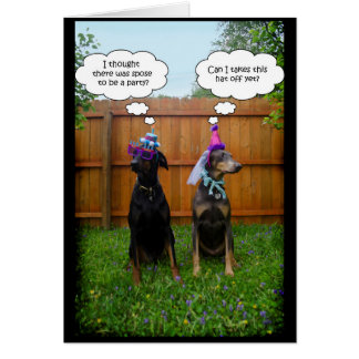 Funny Doberman Birthday Celebration Card