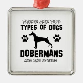 Funny doberman designs christmas ornament