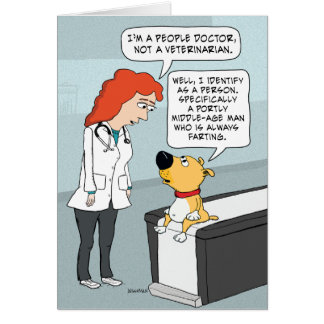 Funny Doctor and Dog Birthday Greeting Card