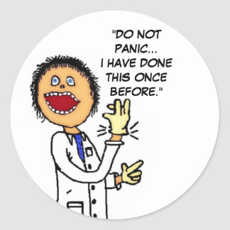 Funny Doctor Cartoon Round Sticker