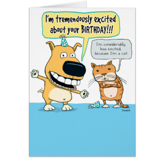 Funny Dog and Cat Birthday Card