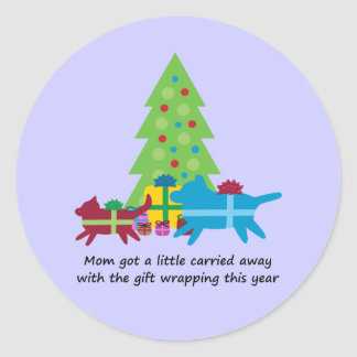 Funny Dog  and Cat Christmas Presents Round Sticker