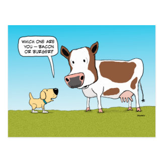 Funny Dog and Cow postcard