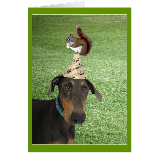 Funny dog and squirrel birthday card
