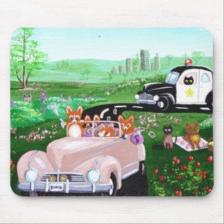 Funny Dog Cat Art Corgi Cop Police Car Creationart Mouse Mat