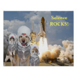Funny Dog/Cat Astronauts Science Poster