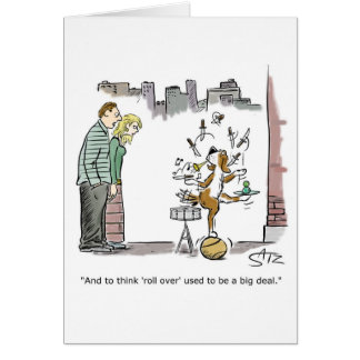 Funny dog doing tricks congratulations card