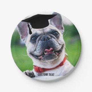 Funny Dog Graduation French BullDog Custom Photo Paper Plate