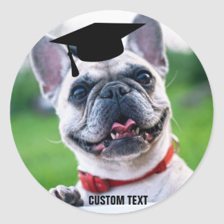 Funny Dog Graduation French Bulldog Photo Classic Round Sticker