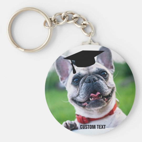 Funny Dog Graduation French BullDog Photo Key Ring