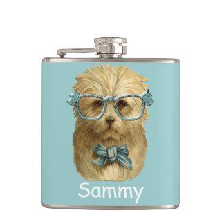 funny dog hipster flask