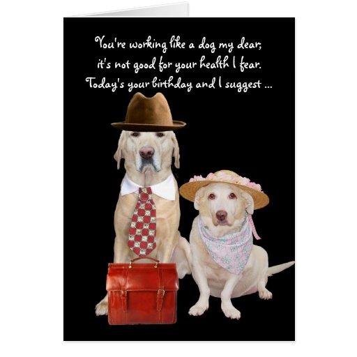 Funny Dog/Lab Birthday For Husband Greeting Card
