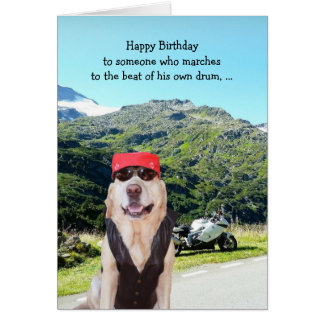 Funny Dog/Lab BIrthday for Male Biker Greeting Card
