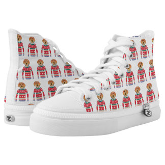 Funny Dog Lover Dog Wearing Ugly Christmas Sweater High Tops